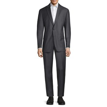 Standard-Fit Textured Solid Wool-Blend Suit MICHAEL KORS COLLECTION