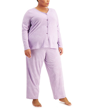 Plus Size Printed Cotton Pajama Set, Created for Macy's Charter Club