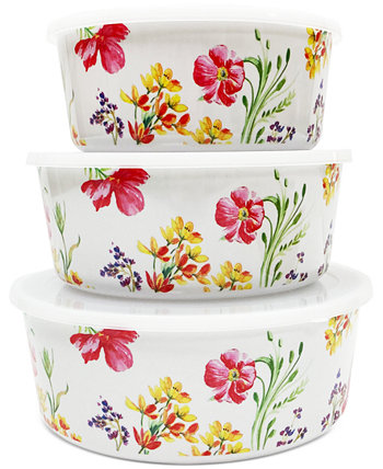 Floral Nesting Food Storage Containers, Set of 3, Created for Macy's Martha Stewart Collection