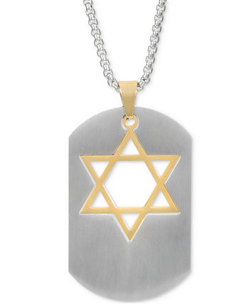 "INC Men's Two-Tone Star of David Dog Tag 23-3/4"" Pendant Necklace, Created for Macy's INC International Concepts"