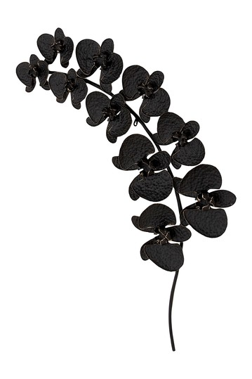 "Traditional 16"" x 2"" Black Leaf Metal Decor Willow Row"