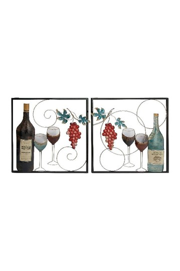 Traditional Framed Wine Bottle & Glasses Iron Wall Decor - Set of 2 Willow Row