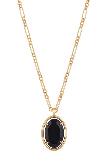 Black Agate Oval Stone Necklace with Paperlink Chain LA Rocks