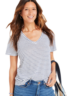 Striped Linen V-Neck Tee Vineyard Vines