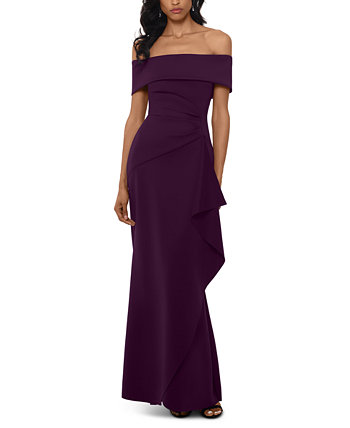 Petite Off-The-Shoulder Ruffled Gown XSCAPE