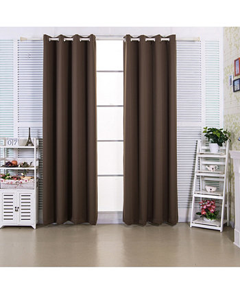 "84"" Edessa Premium Solid Insulated Thermal Blackout Grommet Window Panels, Hazelnut Brown Elegant Home Fashions"