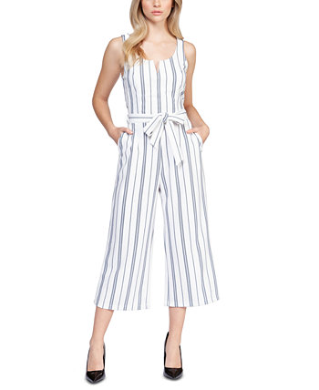Striped Stretch Belted Cropped Jumpsuit Black Tape