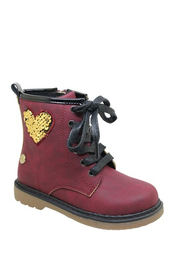 Sequin Patch Lace-Up Boot (Toddler) Nicole Miller