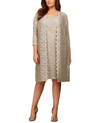 Plus Size Lace Sheath Dress and Jacket Alex Evenings