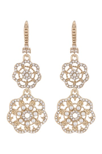 Gold-Tone Crystal & Faux Pearl Filigree Double Drop Earrings Marchesa