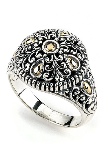 Sterling Silver & 18K Yellow Gold Floral Design Ring Samuel B Jewelry