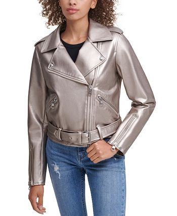 Belted Faux-Leather Moto Jacket Calvin Klein