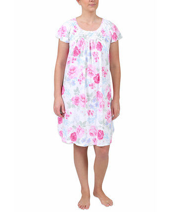 Plus Size Floral-Print Short-Sleeve Nightgown Miss Elaine