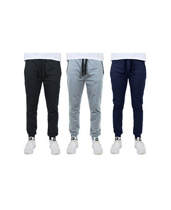 Men's Slim Fitting French Terry Jogger Lounge Pants with Zipper Pockets, Pack of 3 Galaxy By Harvic