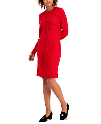 Cable-Knit Sweater Dress, Created for Macy's Charter Club