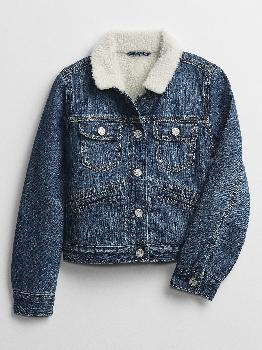 Kids Icon Sherpa Lined Denim Jacket Gap Factory