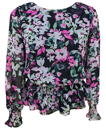 Smocked Floral-Print Blouse, Created for Macy's Bar III