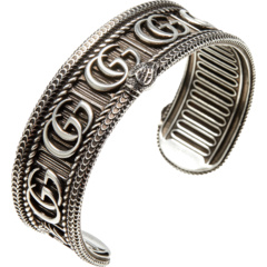 Double G and Snake Motif Bracelet in Aged Sterling Silver GUCCI