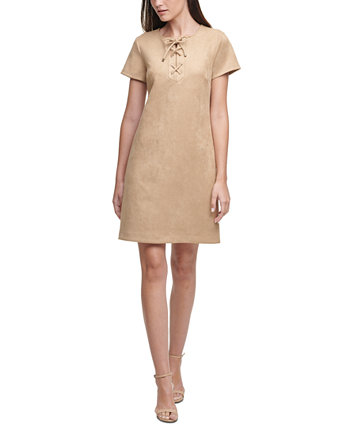 Petite Lace-Up Scuba Faux-Suede A-Line Dress Tommy Hilfiger