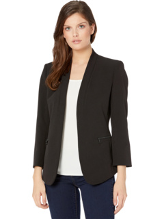Piped Cardigan Jacket w/ Cropped Sleeve Anne Klein