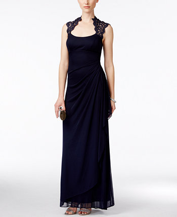Stand-Collar Illusion Back Gown XSCAPE