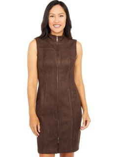 Scuba Suede Zip Front Sheath Dress Tommy Hilfiger