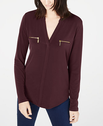 INC Petite Zippered-Pocket Top, созданный для Macy's INC International Concepts