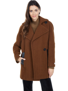 Wool Peacoat with One-Button Closure and PU Trim Pockets Calvin Klein