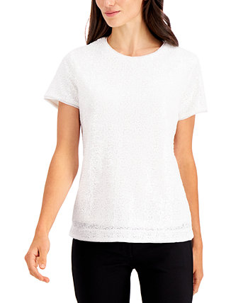 Sequined Short-Sleeve Blouse, Created for Macy's Charter Club