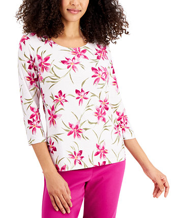 Petite Jacquard 3/4-Sleeve Top, Created for Macy's J&M Collection