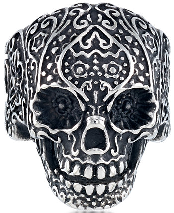 Men's Ornamental Skull Ring in Oxidized Stainless Steel Andrew Charles by Andy Hilfiger