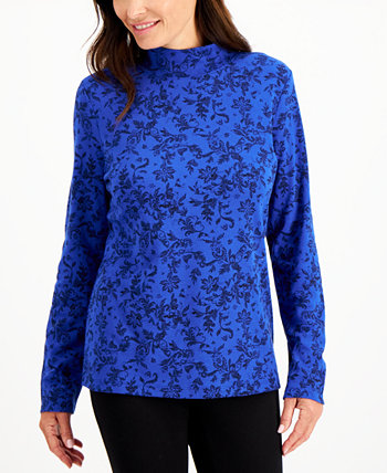 Printed Mock-Neck Top, Created for Macy's Karen Scott