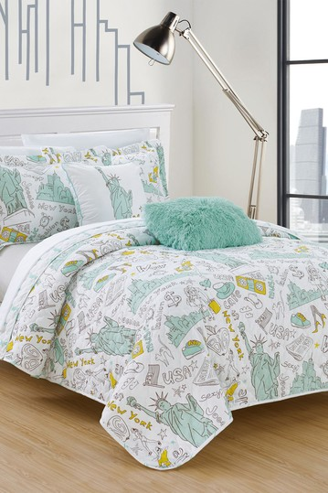 Twin Fulton Reversible New York Quilt Set - Green No brands