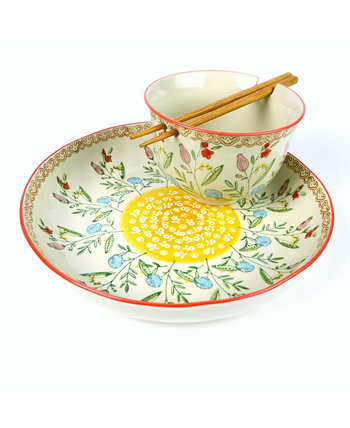 Ella Ramen Bowl and Dinner Bowl Set in Red Euro Ceramica