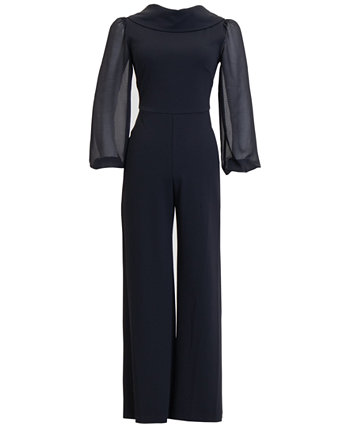 Scuba Roll-Collar Sheer-Long-Sleeve Jumpsuit Connected