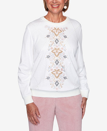 Women's Plus Size Glacier Lake Center Scroll Embroidery Top Alfred Dunner