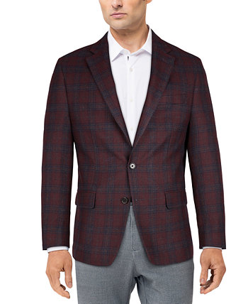Men's Classic-Fit Ultraflex Stretch Burgundy Plaid Sport Coat Ralph Lauren