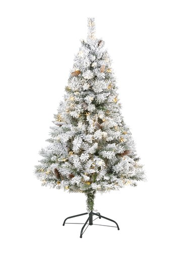 5ft. Flocked White River Mountain Pine Artificial Christmas Tree with Pinecones and 150 Clear LED Lights NEARLY NATURAL