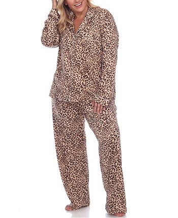 Women's Plus Size Pajama Set, 2 Piece White Mark