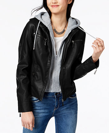Juniors' Hooded Faux-Leather Moto Jacket Jou Jou