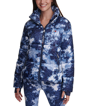 Tie-Dyed Cropped Thumbhole Puffer Coat Tommy Hilfiger