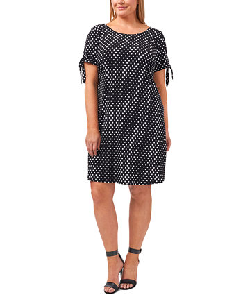 Plus Size Dot-Print Tie-Sleeve Shift Dress MSK