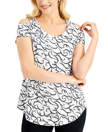 Printed Cold-Shoulder Top, Created for Macy's J&M Collection