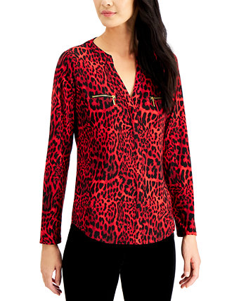 INC Plus Size Printed Zip-Pocket Top, Created for Macy's INC International Concepts