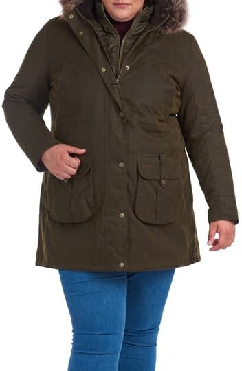 Homeswood Waxed Cotton Hooded Raincoat with Faux Fur Trim Barbour