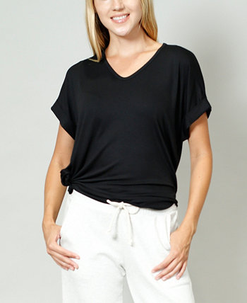 Women's Rolled Sleeve V-Neck T-shirt COIN 1804