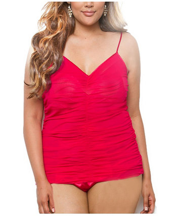 Women's All Over Rusching, Figure Flattering Mesh and Lace Cami ICollection