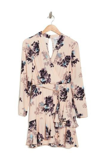 Anja Floral Surplice Long Sleeve Ruffled Dress REISS