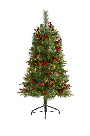 4ft. Norway Mixed Pine Artificial Christmas Tree with 150 Clear LED Lights, Pine Cones and Berries NEARLY NATURAL