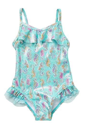Glitter Seahorse Ruffled One-Piece Swimsuit (Toddler & Little Girls) Flapdoodles
